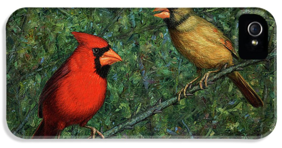 Cardinal IPhone 5 Case featuring the painting Cardinal Couple by James W Johnson