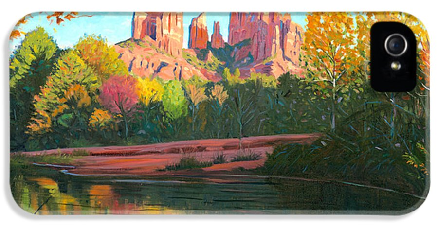 Oak Creek IPhone 5 Case featuring the painting Cathedral Rock - Sedona by Steve Simon