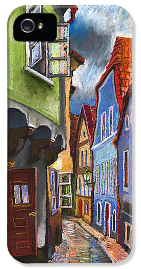 Pastel Chesky Krumlov Old Street Architectur IPhone 5 Case featuring the painting Cesky Krumlov Old Street 1 by Yuriy Shevchuk