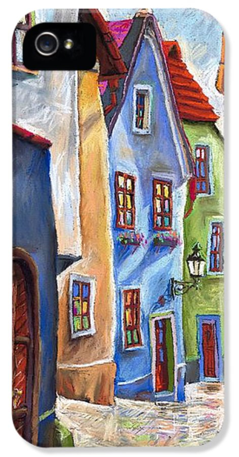 Cityscape IPhone 5 Case featuring the painting Cesky Krumlov Old Street by Yuriy Shevchuk
