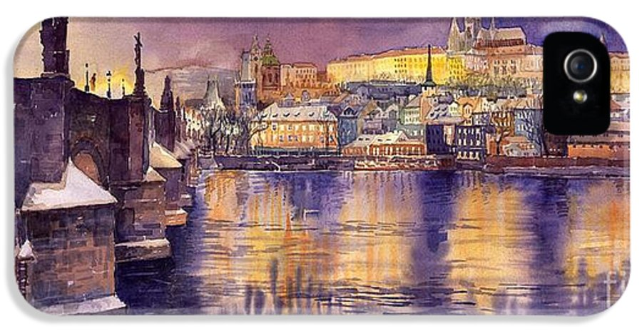Cityscape IPhone 5 Case featuring the painting Charles Bridge And Prague Castle With The Vltava River by Yuriy Shevchuk