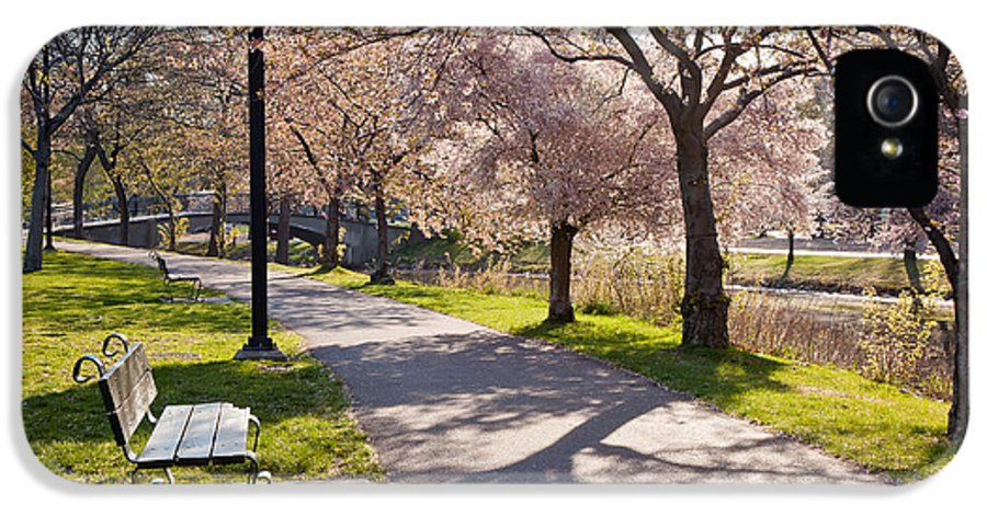 April IPhone 5 Case featuring the photograph Charles River Cherry Trees by Susan Cole Kelly