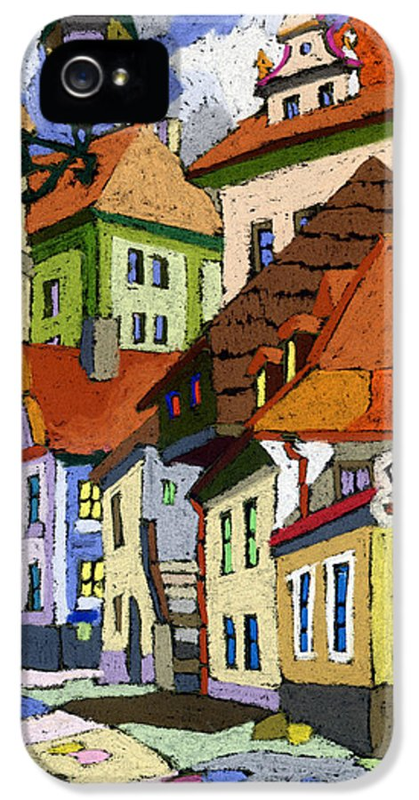 Pastel IPhone 5 Case featuring the painting Chesky Krumlov Masna Street 1 by Yuriy Shevchuk
