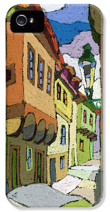 Pastel IPhone 5 Case featuring the painting Chesky Krumlov Street Nove Mesto by Yuriy Shevchuk