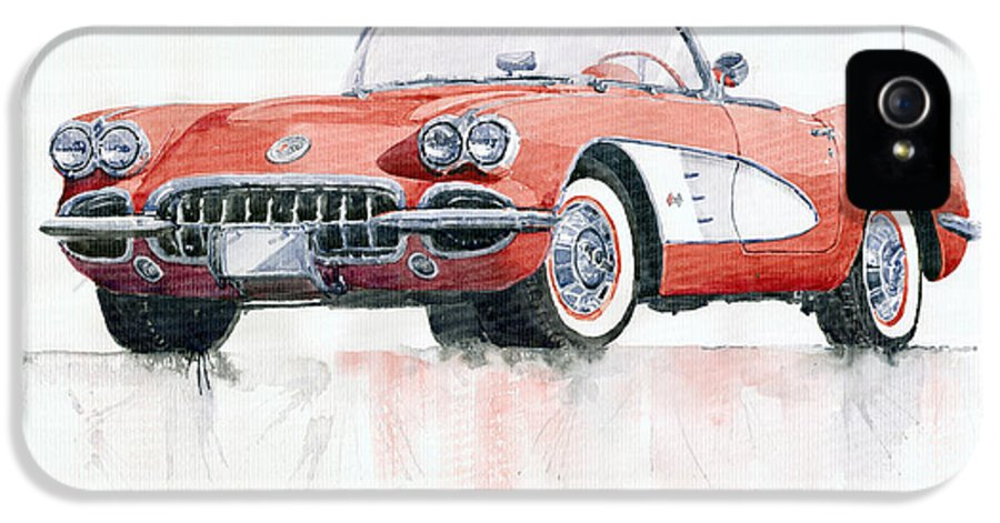 Watercolor IPhone 5 Case featuring the painting Chevrolet Corvette C1 1960 by Yuriy Shevchuk