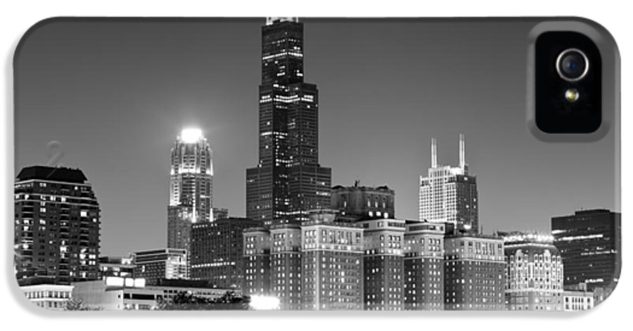 At&t IPhone 5 Case featuring the photograph Chicago Night Skyline In Black And White by Paul Velgos