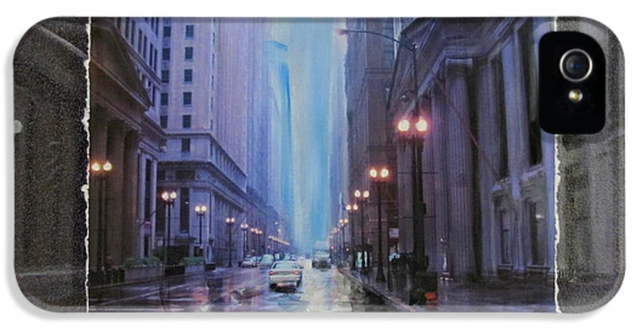 City IPhone 5 Case featuring the mixed media Chicago Rainy Street Expanded by Anita Burgermeister