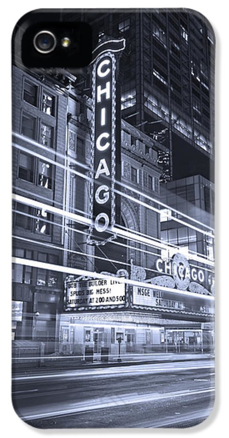 Chicago IPhone 5 Case featuring the photograph Chicago Theater Marquee B And W by Steve Gadomski