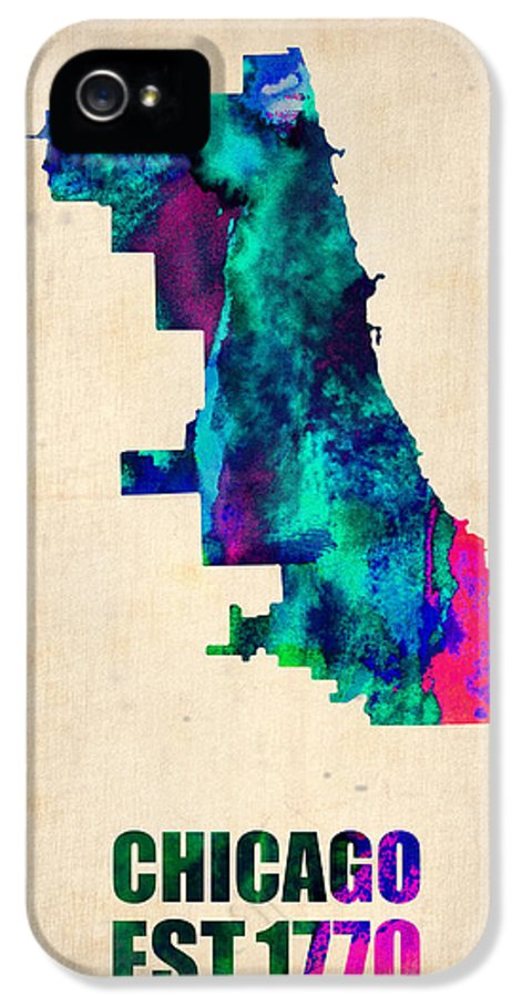 Chicago IPhone 5 Case featuring the digital art Chicago Watercolor Map by Naxart Studio