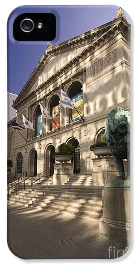 Chicago Art Institute IPhone 5 Case featuring the photograph Chicago's Art Institute In Reflected Light. by Sven Brogren