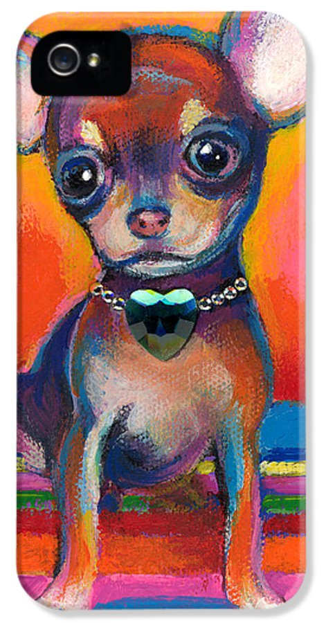 Chihuahua Dog Portrait IPhone 5 Case featuring the painting Chihuahua Dog Portrait by Svetlana Novikova