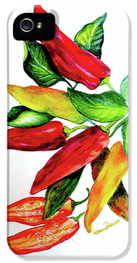 Chilliy Peppers IPhone 5 Case featuring the pastel Chillies From My Garden by Karin Dawn Kelshall- Best