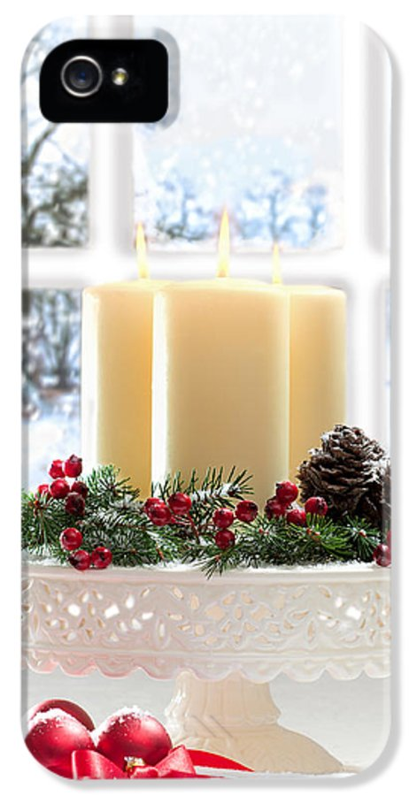 Christmas IPhone 5 / 5s Case featuring the photograph Christmas Candles Display by Amanda Elwell