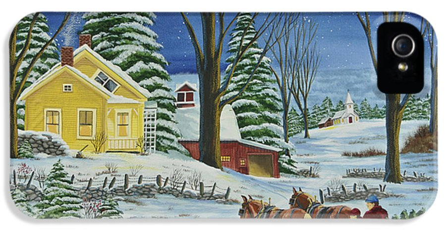 Winter Scene Paintings IPhone 5 Case featuring the painting Christmas Eve In The Country by Charlotte Blanchard