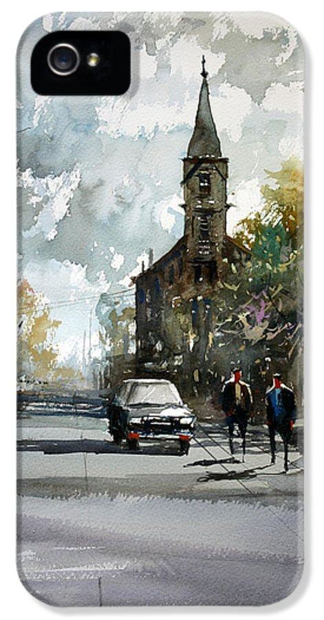 Street Scene IPhone 5 Case featuring the painting Church On The Hill by Ryan Radke