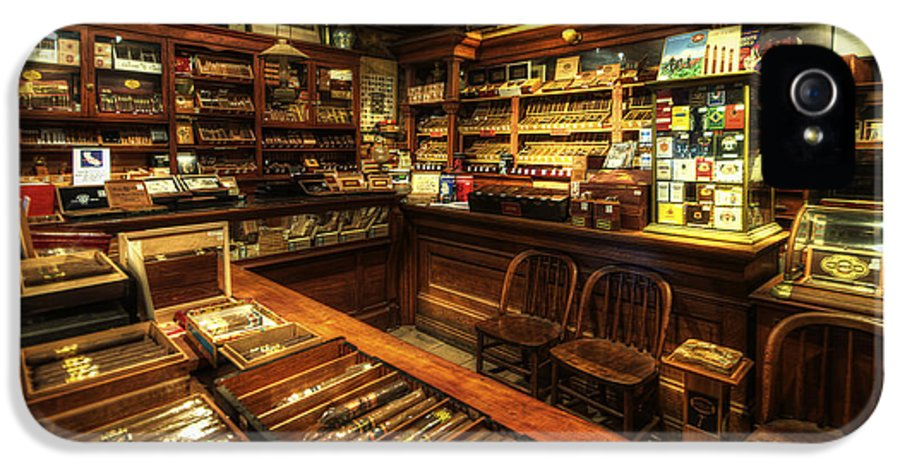 Art IPhone 5 Case featuring the photograph Cigar Shop by Yhun Suarez