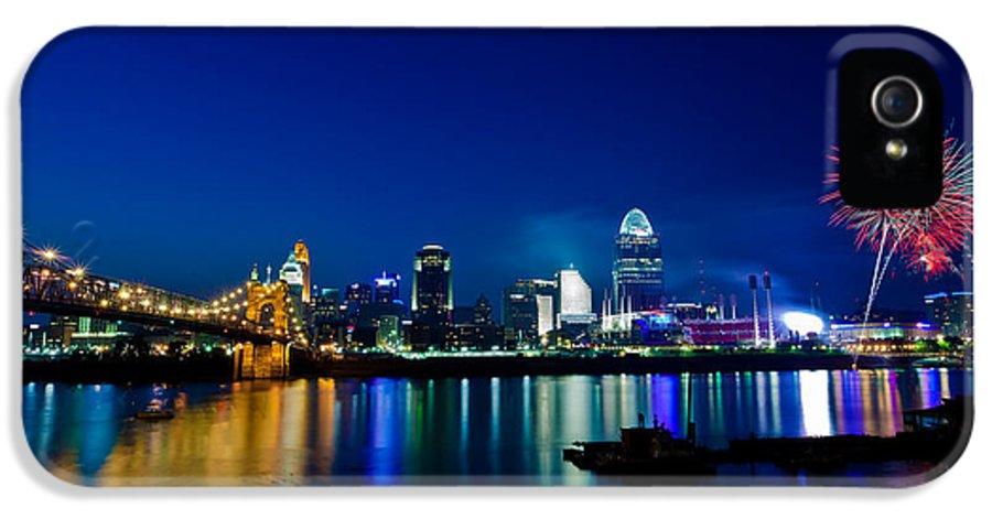 Cincinnati Ohio Skyline Fireworks Twilight Light Trails Water River Reflection IPhone 5 Case featuring the photograph Cincinnati Boom by Keith Allen