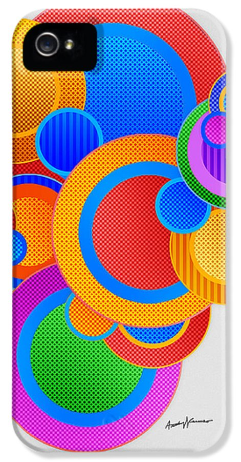 Abstract IPhone 5 Case featuring the digital art Circles by Anthony Caruso