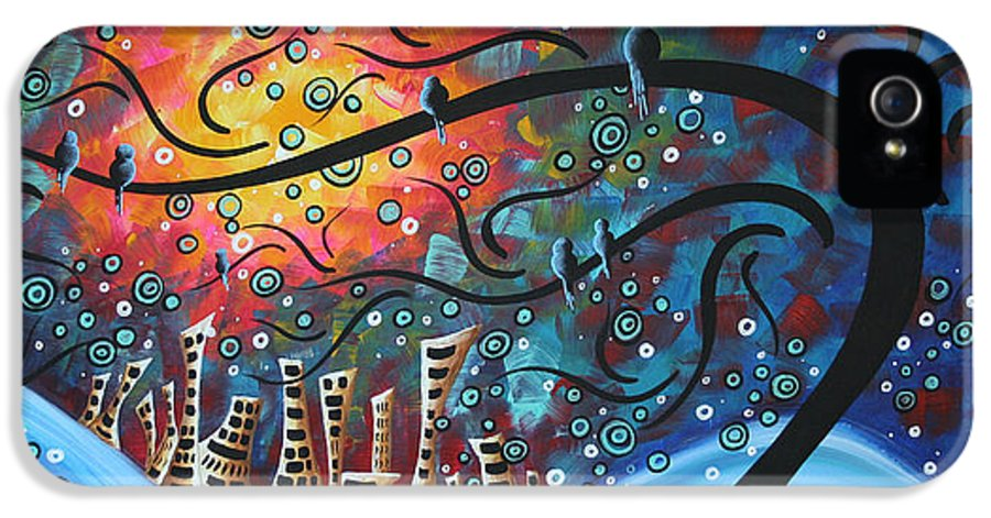 Art IPhone 5 Case featuring the painting City By The Sea By Madart by Megan Duncanson