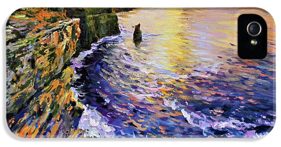 Cliffs Of Moher IPhone 5 Case featuring the painting Cliffs Of Moher At Sunset by Conor McGuire