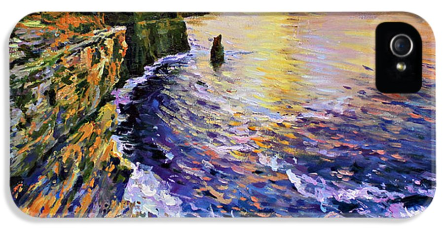 Cliffs Of Moher IPhone 5 / 5s Case featuring the painting Cliffs Of Moher At Sunset by Conor McGuire