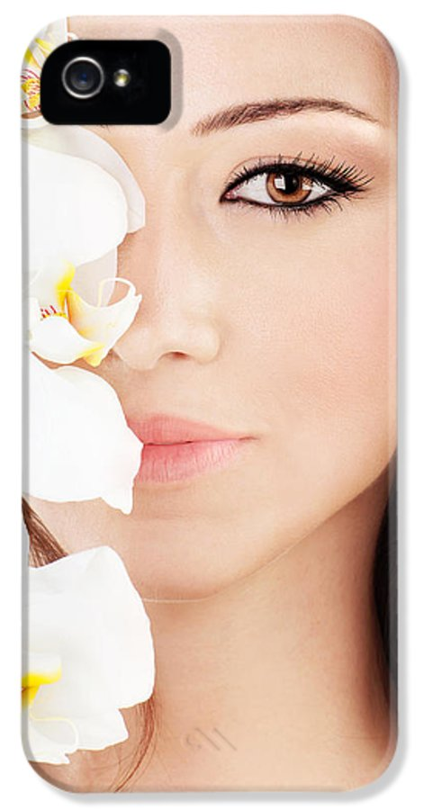 Beautiful IPhone 5 Case featuring the photograph Closeup On Beautiful Face With Flowers by Anna Om
