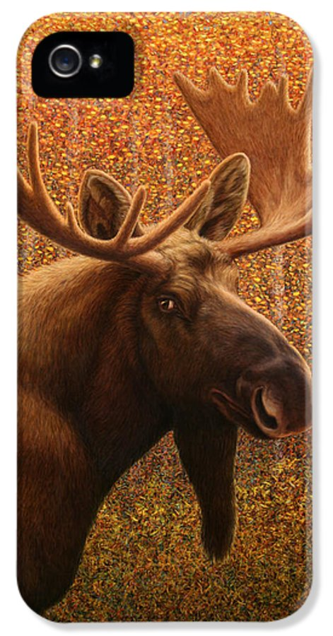 Moose IPhone 5 Case featuring the painting Colorado Moose by James W Johnson