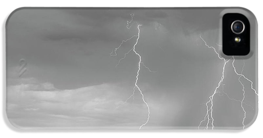 July IPhone 5 / 5s Case featuring the photograph Colorado Rocky Mountains Foothills Lightning Strikes 2 Bw by James BO Insogna