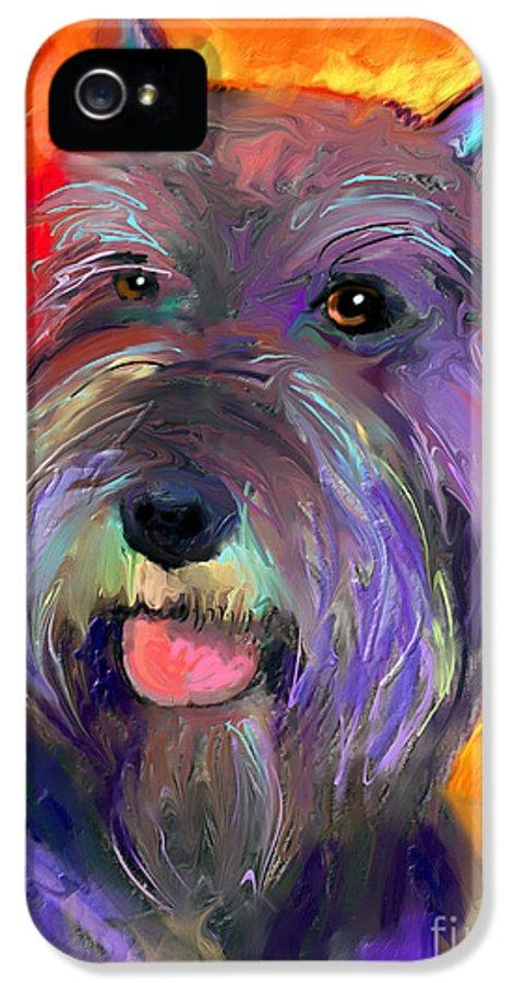 Schnauzer Dog IPhone 5 Case featuring the painting Colorful Schnauzer Dog Portrait Print by Svetlana Novikova