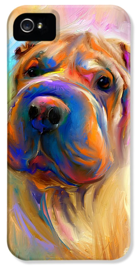 Chinese Shar Pei Dog IPhone 5 Case featuring the painting Colorful Shar Pei Dog Portrait Painting by Svetlana Novikova