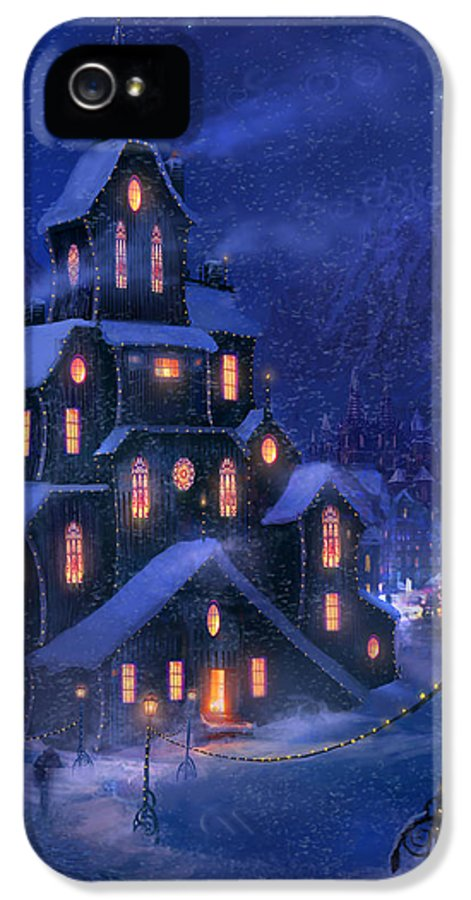 Christmas IPhone 5 Case featuring the painting Coming Home by Philip Straub
