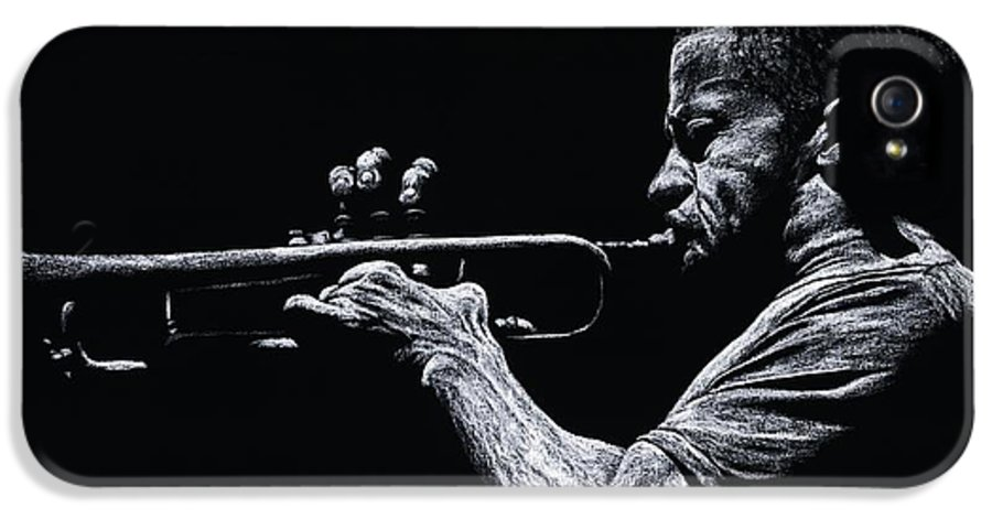 Musician IPhone 5 Case featuring the pastel Contemporary Jazz Trumpeter by Richard Young