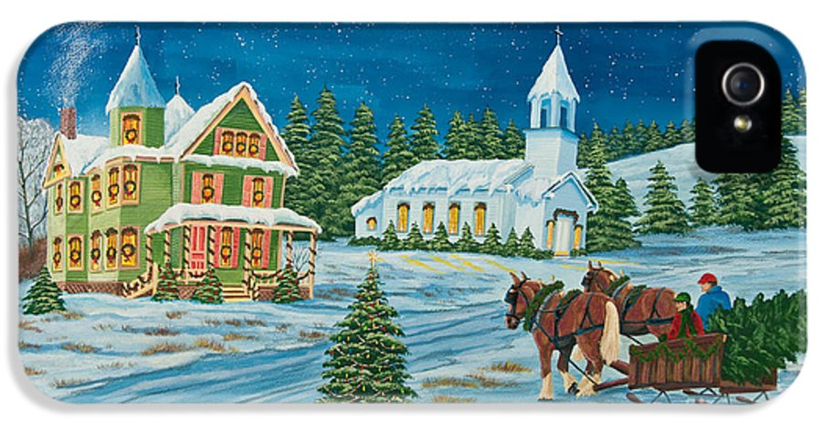 Winter Scene Paintings IPhone 5 Case featuring the painting Country Christmas by Charlotte Blanchard
