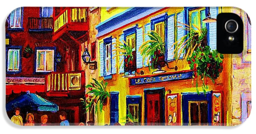 Courtyard Cafes IPhone 5 Case featuring the painting Courtyard Cafes by Carole Spandau