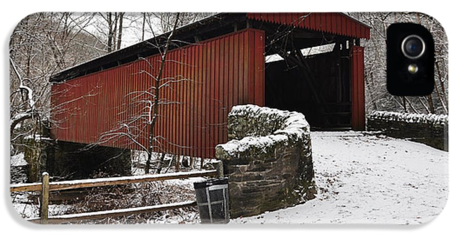 Covered Bridge IPhone 5 Case featuring the photograph Covered Bridge Over The Wissahickon Creek by Bill Cannon