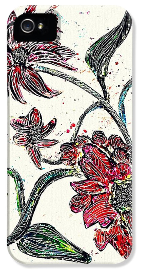 Flower IPhone 5 Case featuring the drawing Crayon Flowers by Sarah Loft