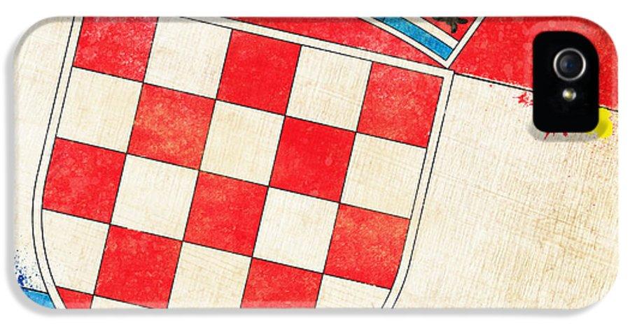 Chalk IPhone 5 Case featuring the painting Croatia Flag by Setsiri Silapasuwanchai