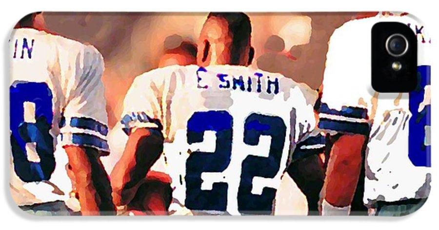 Dallas Cowboys IPhone 5 Case featuring the mixed media Dallas Cowboys Triplets by Paul Van Scott
