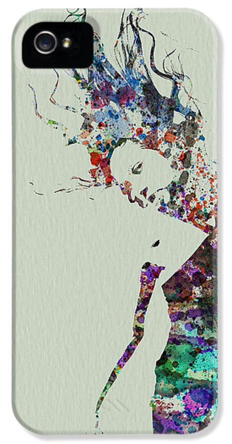 Dancer IPhone 5 Case featuring the painting Dancer Watercolor Splash by Naxart Studio