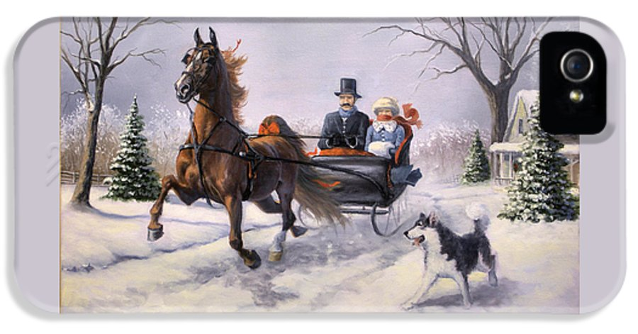 Winter Scene IPhone 5 Case featuring the painting Dashing Through The Snow II by Jeanne Newton Schoborg