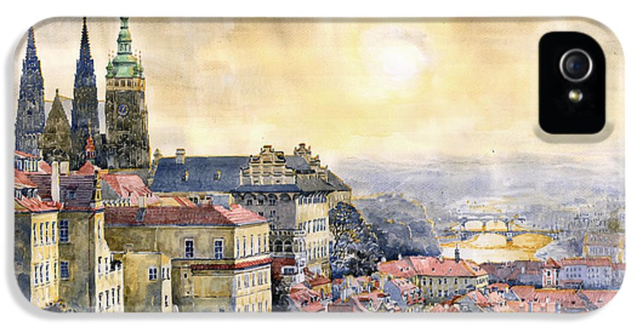 Watercolor IPhone 5 Case featuring the painting Dawn Of Prague by Yuriy Shevchuk