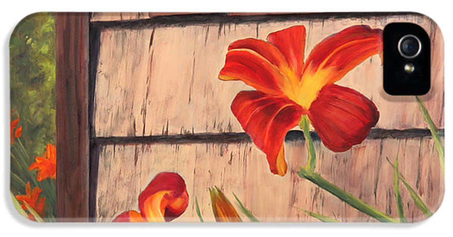 Daylily IPhone 5 Case featuring the painting Daylilies At The Shed by Elaine Farmer