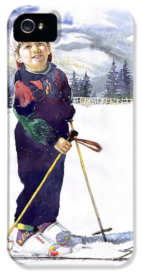 Watercolor Watercolour Figurative Ski Children Portret Realism IPhone 5 Case featuring the painting Denis 03 by Yuriy Shevchuk