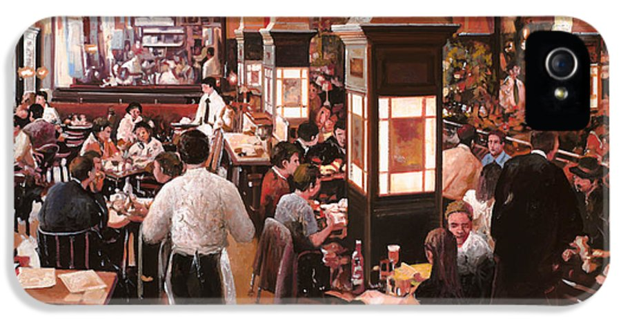 Coffee Shop IPhone 5 Case featuring the painting Dentro Il Caffe by Guido Borelli