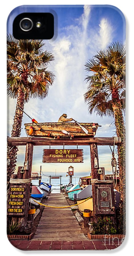 America IPhone 5 Case featuring the photograph Dory Fishing Fleet Market Picture Newport Beach by Paul Velgos
