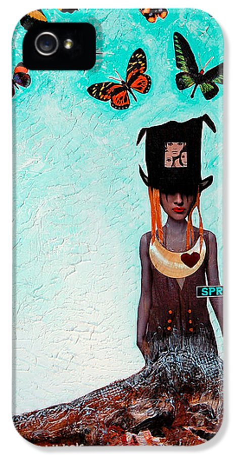 Mixed Media IPhone 5 Case featuring the painting Down The Rabbit Hole by Sharon Cummings
