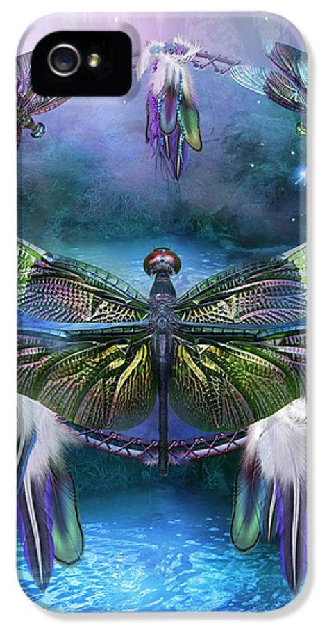 Carol Cavalaris IPhone 5 Case featuring the mixed media Dream Catcher - Spirit Of The Dragonfly by Carol Cavalaris