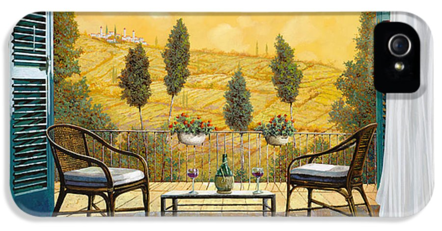 Terrace IPhone 5 Case featuring the painting due bicchieri di Chianti by Guido Borelli