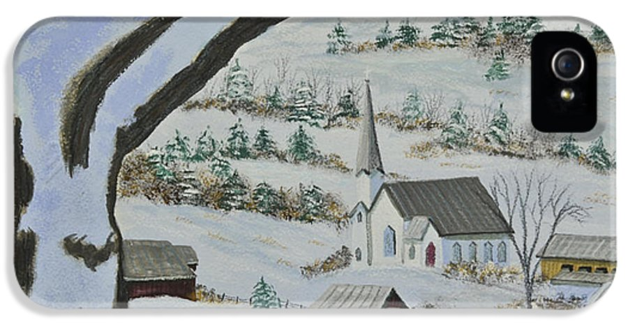 Winter Scene Paintings IPhone 5 Case featuring the painting East Orange Vermont by Charlotte Blanchard