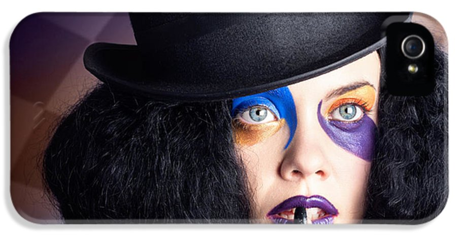Female IPhone 5 Case featuring the photograph Eccentric Mad Fashion Hatter In Colourful Makeup by Jorgo Photography - Wall Art Gallery